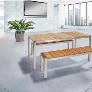 greemotion Gartenmöbel Set »San Diego 2«, 2 Bänke, 1 Tisch, aus Teakholz und Edelstahl