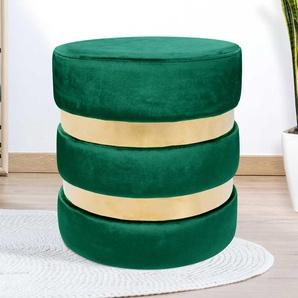 Sitzpouf in Grün und Goldfarben Samt