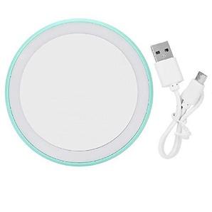 Bmstjk Schminkspiegel, LED-Schminkspiegel USB-Ladegerät tragbar, runder Schminkspiegel Helligkeit einstellbar LED-Schminkspiegel Handspiegel