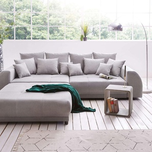Big-Sofa Violetta 310x135 cm Grau inklusive Hocker, Big Sofas