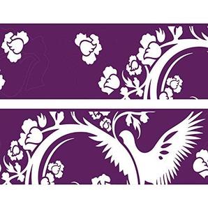 Kleisterbordüre  Paradiesvogel, 4-teilig 520x15cm, Tapetenbordüre, Wandbordüre, Borte, Wanddeko,violett, Muster