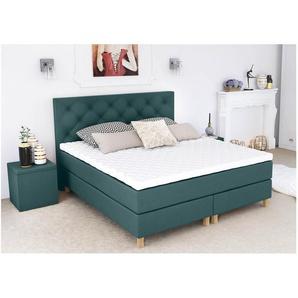 ELESS Amore Boxspringbett Continentalbett Amerikanisches Bett Doppelbett Ehebett Gästebett Meerblau 200x210 cm H3-H4