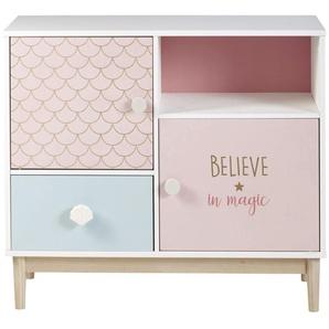 Schränkchen mit 1 Schublade und 2 Türen, weiß, rosa und blau Mermaid