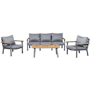 Siena Garden Alvito+ Sofagruppe 4-teilig Aluminium/Polyester Graphit/Jeans Grau