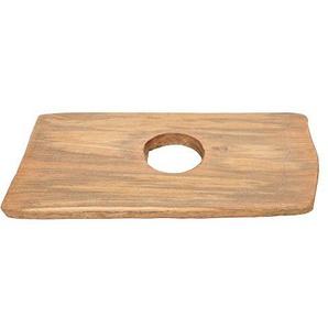 wohnfreuden Teakholz Waschtischplatte für Naturstein Waschbecken ? Holz-Platte für Waschbecken ? antikes Teakholz ausgetrocknet ? Unterbau Gr. M 70-90 cm