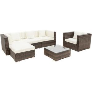 OUTFLEXX Loungemöbel-Set, braun marmoriert, Polyrattan, 5 Pers, wasserfeste Kissenbox, inkl. Beistelltisch