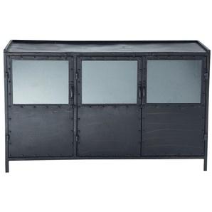 Anrichte im Industrial-Stil aus Metall mit teilverglasten Türen, B 130cm, schwarz Edison