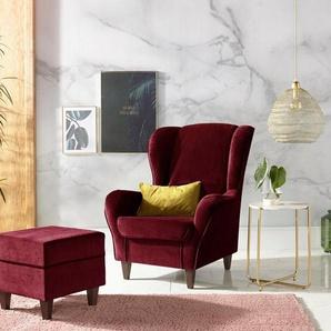 INOSIGN Sessel, mit Bezug, in Samtoptik, mit und ohne Hocker, rot, Samtvelours