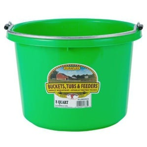 Miller Manufacturing P8LIMEGREEN Plastic Round Back Bucket for Horses, 8-Quart, Lime Green by Miller