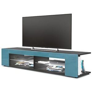 Vladon TV Board Lowboard Movie, Korpus in Schwarz matt/Fronten in Petrol Hochglanz inkl. LED Beleuchtung in Weiß