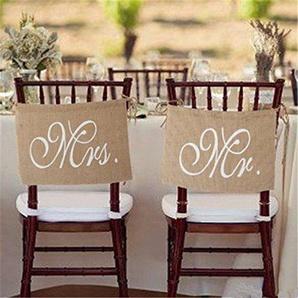 2Sets MR & MRS Sackleinen Mini Stuhl Wimpelkette-Rustikal Vintage Hochzeit Banner Jute