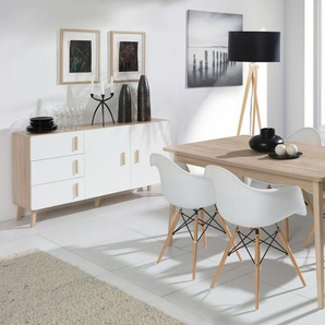 Esszimmer Komplett - Set Kea, 3-teilig, Eiche / Weiß