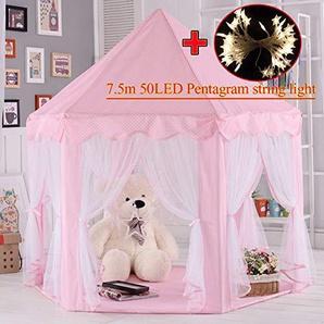 MYMM Kinderzelt, kinderspielzelt,Prinzessin Castle Spielzelt, Kinder Nook Zelte für Indoor & Outdoor Use, Tragetasche, Baby Geburtstagsgeschenk, Für Kinder im Alter unter 10 Jahren (Rosa)