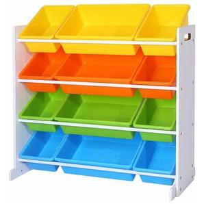 Kinderregal, Kinderzimmerregal, Spielzeugregal, Spielzeugaufbewahrung für Kinder, Aufbewahrungsregal für Spielzeug, Ordnungsregal mit Aufbewahrungsboxen, mehrfarbig GKR04W - SONGMICS