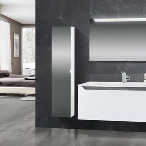 Design Badmöbel Set mit Waschtisch 120 cm, Grau Hochglanz Griffleiste