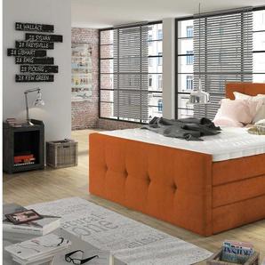 JUSTyou Lyssa Boxspringbett Continentalbett Amerikanisches Bett Doppelbett Ehebett Gästebett Orange 140x200