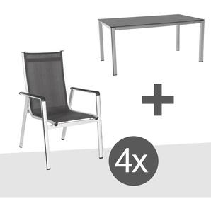 MWH Elements Gartenmöbelset 5-teilig Elements Gartentisch 160x90cm Silber/Anthrazit