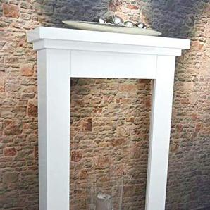 Livitat® Kaminkonsole Kaminumrandung Kaminumbau 110 x 70 cm Kaminattrappe Weiß Landhaus LV4090