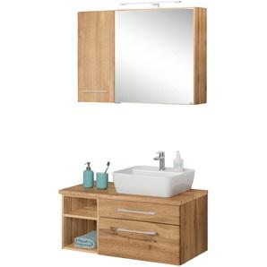 Badmöbel-Set mit Hängeschrank und Spiegelschrank »Davos«, weiß, Becken rechts, Held Möbel