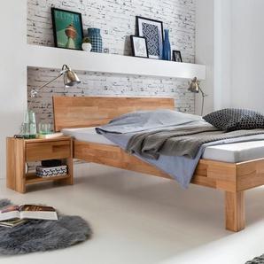 Bett in Überlänge CELINE 160x220 cm Farbe Natur Buche , Kernbuche Massivholz Breite 165 cm