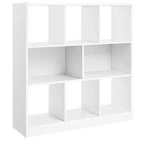 Vicco Treppenregal 10 Fächer - Raumteiler Stufenregal Raumtrenner Bücherregal Aktenregal Standregal (Weiß)