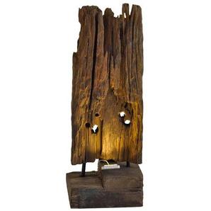 Skulptur mit Beleuchtung Teak Massivholz