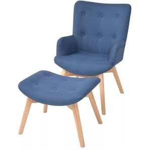 Sessel mit Fußhocker Blau Stoff - VIDAXL