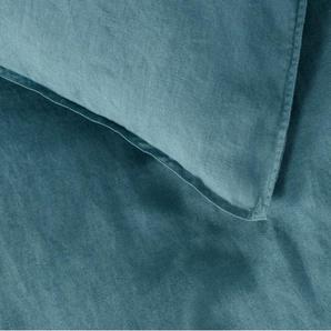 Brisa 100 % Leinen Bettwaescheset (135 x 200 cm), Ozeanblau