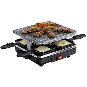 Raclette Grill 4 Personen Grillplatte Tischgrill Elektrogrill Heißer Stein (4 Pfännchen, 600 Watt, Antihaftbeschichtung, Party Grill)