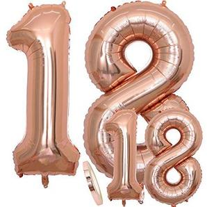 Luftballons Zahl 18 Geburtstag XXL Rose Gold - Riesen Folienballon in 2 Größen 40 & 16 | Set XXL 100cm + Mini 40cm Version Geburtstagsdeko | Insgesamt Vier Zahlen | Ideal zum 18. als Deko