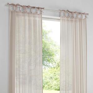 Dekostore mit aufgenähten Satinbändern, natur, Gr. 225/140 cm,  home, Material: Polyester