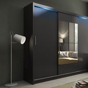 Kleiderschrank: Schwarz + LEDs