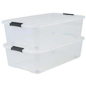 IRIS 135462, 2er-Set Unterbettboxen / Rollerboxen / Aufbewahrungsboxen Top Box Under Bed Box, TBU-40, mit 4 Rollen, Plastik, transparent, 40 L, 68 x 38,8 x 18,5 cm