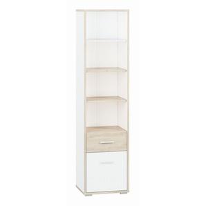 Jugendzimmer - Schrank Forks 02, Farbe: Eiche / Weiß - Abmessungen: 200 x 51 x 40 cm (H x B x T), mit 1 Tür, 1 Schublade und 5 Fächern