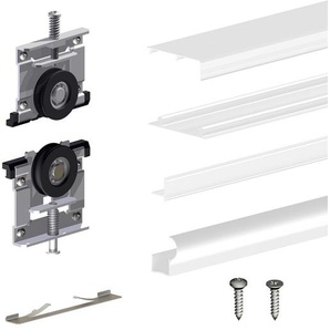 Schiebetürbeschlag SLIDUP 220, 180 cm, 18 mm, 2 Türen bis 70 kg, weiß, für Schränke, Kleiderschränke, Wandschränke - SLIDUP BY MANTION