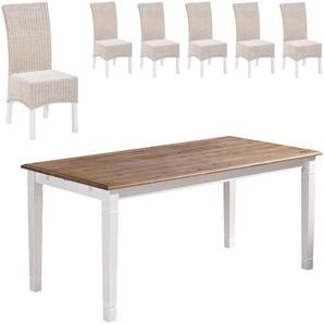 Essgruppe Paris/Rio (85x180, 6 Stühle, weiß)