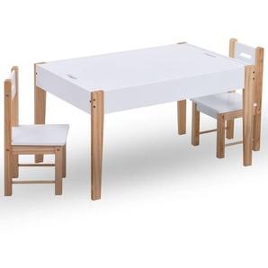 3-tlg. Kinder-Kreidetafel-Tisch und Stuhl-Set Schwarz und Weiß - VIDAXL