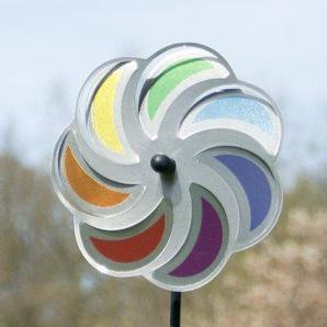 Edelstahl Windrad - Blume 20 Mond Rainbow - extrem wetterfest - Windrad: Ø20cm - inkl. 70cm Standstab und Bodendübel (Mond Rainbow)