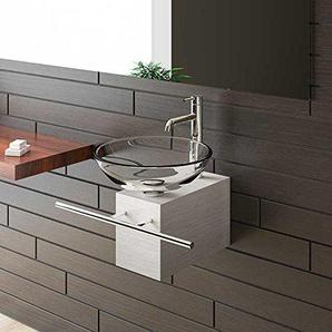 Aufsatzwaschbecken Klar Glaswaschschale Ø 42 cm mit Edelstahlkasten und Handtuchhalter von Alpenberger®