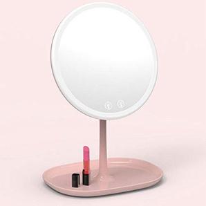 Darcyk Vanity Mirror Desktop LED beleuchtet mit Licht einseitig Lampe Smart Storage Kosmetikspiegel-藕 Pink