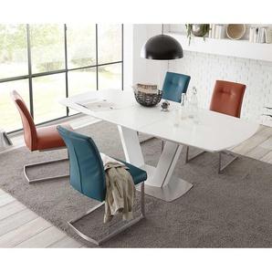 Esszimmergruppe mit bunten Stühlen ausziehbarer Tisch (5-teilig)