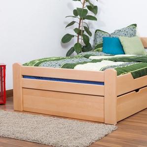 Jugendbett Easy Premium Line K4 inkl. 2 Schubladen und 1 Abdeckblende, 120 x 200 cm Buche Vollholz massiv Natur