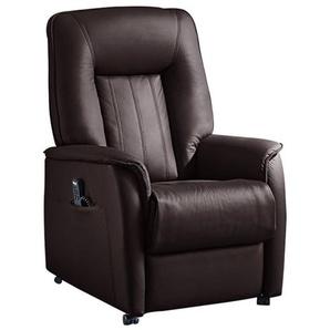 com4lux TV-Sessel mit Relaxfunktion Lederbezug brombeer