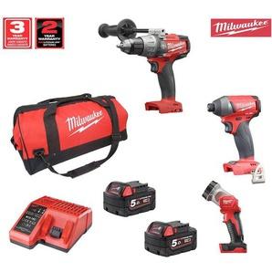 Milwaukee Kit 18V MWK183DP2 (M18FPD + M18FID + M18TLED + 2 x 5,0Ah + M12-18C + Werkzeugtasche XL)