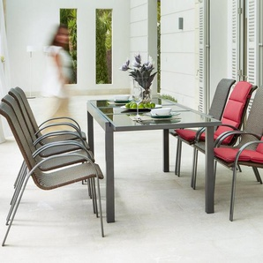 MERXX Gartenmöbelset »Côte d´Azur«, 9-tlg., 8 Sessel, Tisch 240x100x75 cm, grau