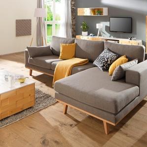Home Affaire Ecksofa »Torino«, grau, hoher Sitzkomfort
