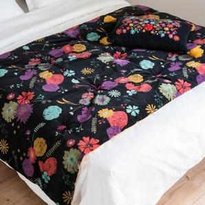 Wende-Quilt aus senfgelber und schwarzer Baumwolle mit Blumenmotiv 100x200