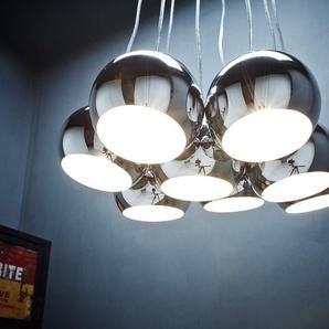 Hängelampe Pentola 55 cm Chrom Silberfarben 8 Schirme, Hängeleuchten