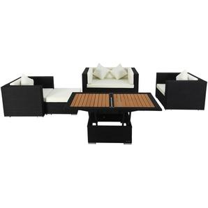 OUTFLEXX Loungemöbel-Set, 5 Personen, schwarz, Polyrattan, inkl. Loungetisch, wasserfeste Kissenbox