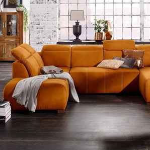 Premium collection by Home affaire Wohnlandschaft »Spirit«, wahlweise mit Bettfunktion, gelb, Luxus-Microfaser